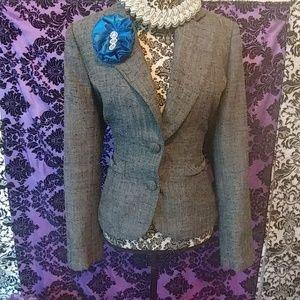 Blue handmade fabric flower pin